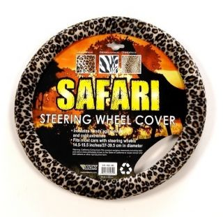 Tan Animal Print Car Steering Wheel Cover 15 Wheel Size Rubber