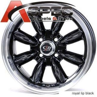 Rota RB 16x7 4x100 Royal Black Wheels Civic Fit Mini