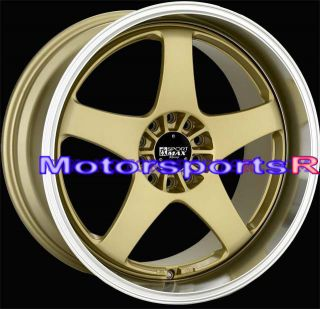 Gold Machine Lip Staggered Rims Wheels 05 09 10 11 Ford Mustang GT V6