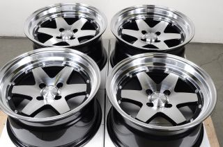 Black Effect Rims Low Offset Polished Miata Cabrio CRX Alloy Wheels