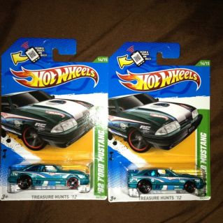 Two 2012 Hot Wheels Treasure Hunt 14 92 Ford Mustang