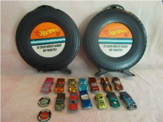 VINTAGE 13 HOTWHEELS REDLINES CAR TOYS Pair of RALLY CASES w 2 Lapel