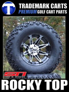 12 STI HD2 Gloss Golf Cart Wheels and 23 ATX All Terrain Tires for