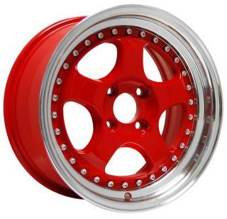 15 KONIG CANDY RED RIMS WHEELS 15x7.5 +30 4x100 MIATA INTEGRA CIVIC XB