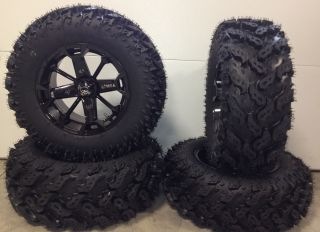 MSA Elixir Black 14 ATV Wheels 27 Reptile Tires Sportsman RZR Ranger