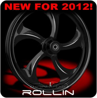 Black 23 x 4 0 Wanaryd Rollin Wheels Tires Harley FLH FLHR FLHX FLTR