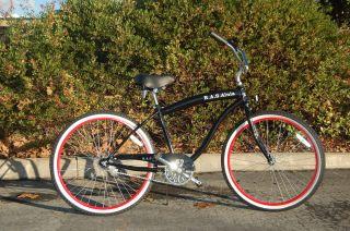 Cruiser Big Frame Black Red Rims 26 Wheels Brand New Beach Bike