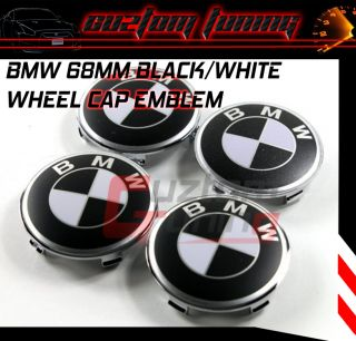 E45 E46 E89 E36 E60 BLACK WHITE RIM WHEEL CENTER EMBLEM LOGO CAP SET