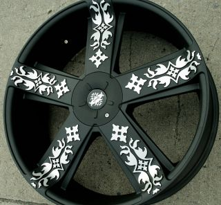 669 22 Black Rims Wheels Chevrolet Malibu 97 03 22 x 8 5 5H 38