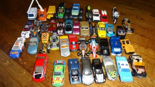 Lot of 41 Matchbox and Hot Wheels Cars Monster Trucks Plus Carry Case