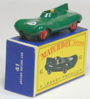 1960 Matchbox 41 Jaguar Racing Car Red Wheels Mint in Mint Box
