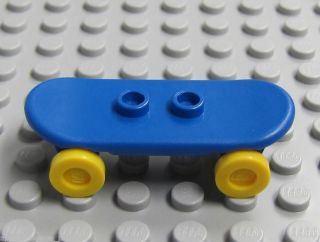 New Lego City Minifig Blue Skateboard w Yellow Wheels