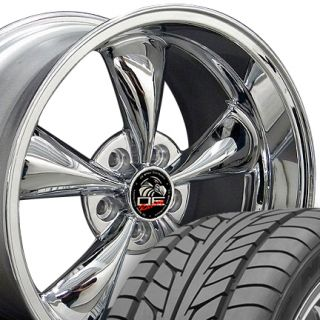 10 Chrome Bullitt Wheels Nitto Tires Bullet Rims Fit Mustang GT 05 Up