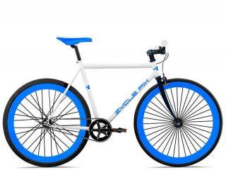 Fixie Bike Road Bicycle 41cm w Deep 45mm Rims White w Blue Rims