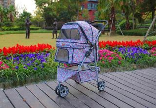 New BestPet 3 Wheels Pink Leopard Pet Dog Cat Stroller w Raincover
