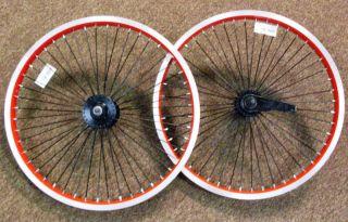 Pair Red 20 Lowrider BMX Bike Wheels 48 Spoke