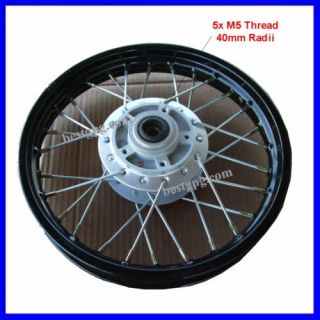 Front Wheel Rim Assy 1 4x12 Disc Brake Dirt Bike Blk