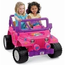 Fisher Price Power Wheels Pink Purple Barbie Jammin Jeep Electric Car