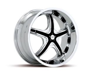 20 x8 5 Ruff Racing R931 Chrome and Black Wheels Rims
