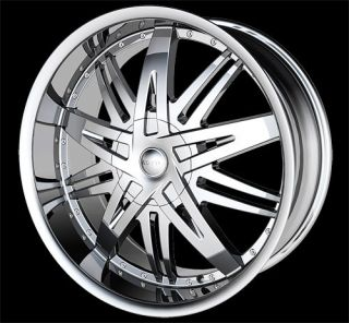 22 H7 Chrome Wheels Rims Tire Caprice Impala 300C 24