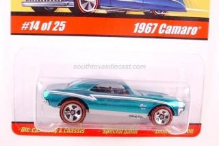 HOT WHEELS CHEVY 67 CAMARO CLASSIC SERIES BLUE 5SP SPECTRAFLAME