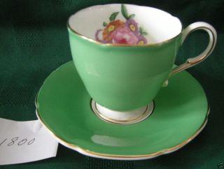 England Demi Tasse Cup Saucer Set Bright Green Fluted Gold Rims floral