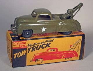 Tow Truck Toy in Original Box Hard Plastic Metal Rub Wheels