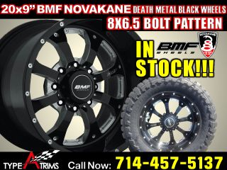 Novakane Death Metal Black Wheels 8x6 5 GM HD Dodge RAM 3500