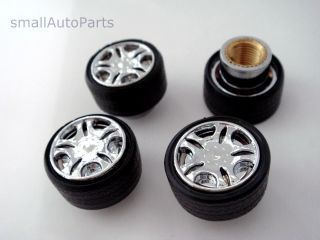 Custom Chrome Rim Wheel shape Tire Stem Air Valve CAPS Covers set