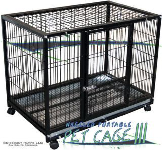 37 Dog Kennel w Wheels Portable Pet Carrier Crate Cage Pet Cage 3