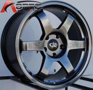 17x8 Rota Grid Wheels 5x114 3 Rim ET35MM Hyper Black Fit 5 Lug Civic