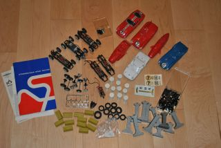 Strombecker 1 32 Scale Slot Car Body Frame Chassis Wheels Parts lot