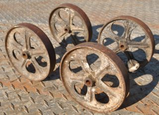 Old Set Small Cast Iron Wheels Industrial Hit & Miss Gas Engine Maytag