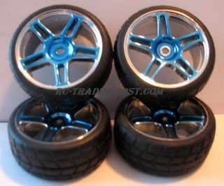 Blue Chrome 1 10th Scale RC Touring Car Wheels Tires Complete Set Of 4