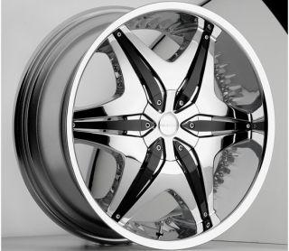 22 inch Akuza Big Papi Chrome Wheels Rims 5x115 rwd 15
