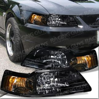 1999 2004 FORD MUSTANG COBRA BLACK HEAD LIGHT LAMP HEADLIGHTS GT V6 V8