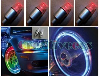 4pcs Red LED Bike Car Tyre Tire Valve Caps Neon Lights