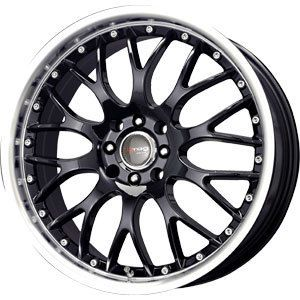 New 16x7 4x100 4x108 Drag Dr 19 Black Wheels Rims