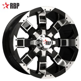 RBP 20 inch 20x10 95R Offroad 6 Lug 8 Lug Black Wheel Rims Set