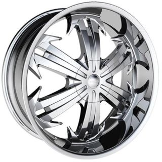 24 inch 24X10 H6 Chrome Wheels Rims 5x115 Chrysler 300C