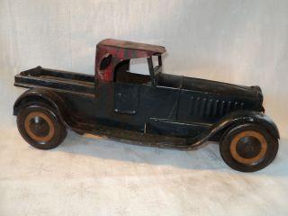 Tin Metal Truck Vehicle w Metal Wheels Vtg Antique Red Blue