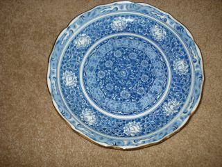 Blue White Transferware Plate Gold Rim China 10 Early 1900s
