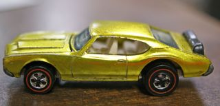 Vintage RARE 1969 Redline Hot Wheels Olds 442 YELLOW Diecast Toy Car