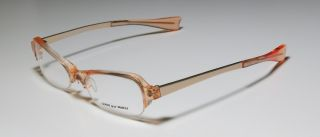 New Alain Mikli 6948 Orange Gold Half Rim Plastic Metal Eyeglass