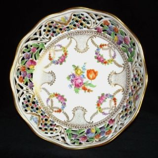 Germany Bowl with Dresden Wreaths Detailed Reticulated Rim
