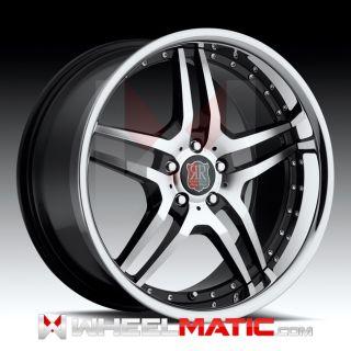 New 20 5x112 Roderick RW2 Black Machine Chrome Lip Wheels Rims