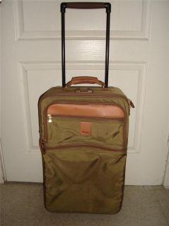 Hartmann Leather Trim Luggage Suitcase Wheels Travel Garment Bag Nylon