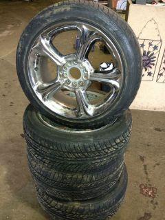 Lot of 4 Falken 215 50 R17 Tires w 4 Chrome Rims