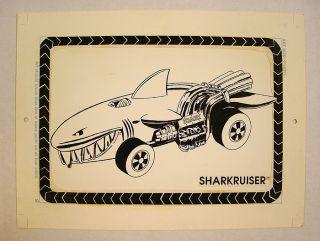 1988 Mattel Hot Wheels Sharkruiser Original Hand Drawn Artwork Shark