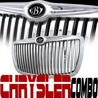 CHROME RR LUXURY VERTICAL GRILL GRILLE+HOOD EMBLEM WING 04+ CHRYSLER